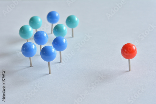 Fotomural push pins on a white background