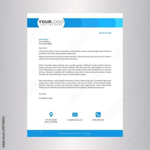 Fototapeta blue letterhead design template obraz