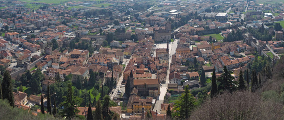 Fototapeta Marostica, Vicenza, Italy. Landscape from the upper castle towards the lower town