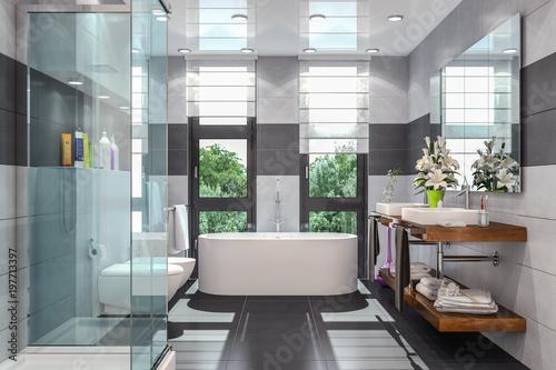 Modernes Badezimmer In Weiss Und Schwarz Mit Dusche Badewanne Wc