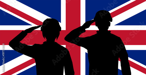 Photo  silhouette England soldier on united kingdom flag