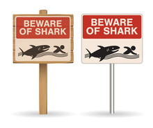 Beware Of Shark Sign On White Background