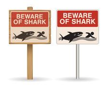 Beware Of Shark Sign On White Background