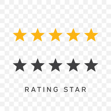 Five Stars Rating In Yellow And Black Silhouette Color.