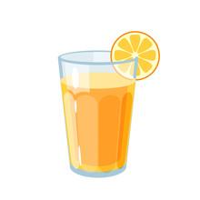 Colorful Fruit Design. Glass Of Fresh Juice With Slice Of Orange. Milkshake, Flavoured Milk. Vector Illustration Cartoon Flat Icon Isolated On White.