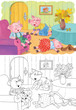 Three little pigs. Fairy tale. Coloring book. Coloring page. Illustration for children. Cute and funny cartoon characters