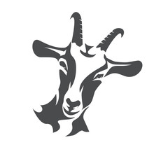 Black Goat Face Stylized Vecto...