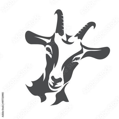 Foto black goat face stylized vector symbol, agriculture concept