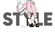 Long Slender Legs In Tight Trousers And High-heeled Shoes. Fashion, Style, Clothing And Accessories. Vector Illustration. Stylish Girl.
