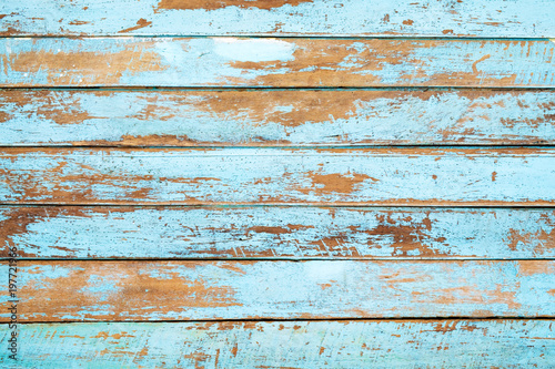 Fototapeta Vintage beach wood background - Old weathered wooden plank painted in blue color. obraz