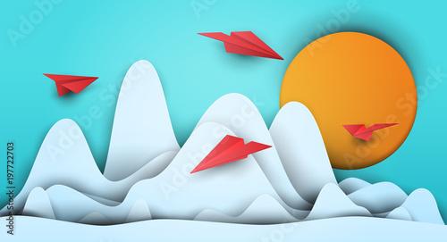 3d vector paper cut clouds ...