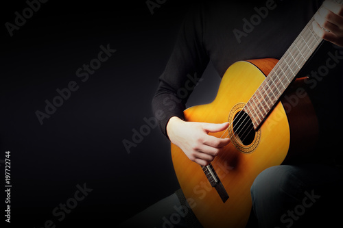 Photo sur Aluminium Musique Acoustic guitar player. Classical guitarist playing guitar classic