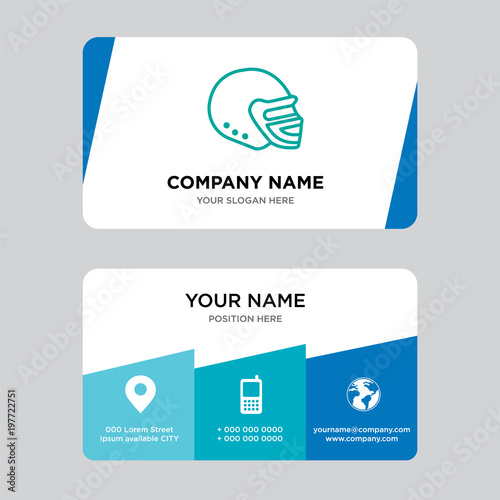 Football Helmet Business Card Design Template Visiting For Your Company Modern Creative And Clean