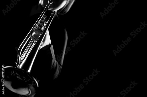 Stickers pour porte Musique Trumpet player. Trumpeter playing jazz