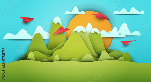 Poster Turquoise 3d vector paper cut green landscape with mountains, airplanes, clouds . Cartoon art illustration in minimalistic craft carving style. Modern layout colorful concept for background cover, poster, card.