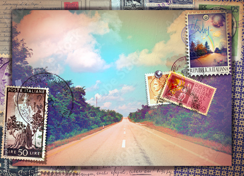 Photo sur Aluminium Imagination Vintage postcard with avenue and old stamp's