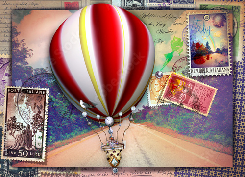 Vintage postcard with avenue, hot air balloon and old stamps