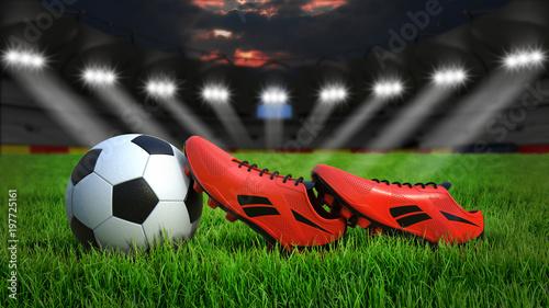 Fussball Und Fussballschuhe Auf Rasen Im Stadion Bei Nacht Mit