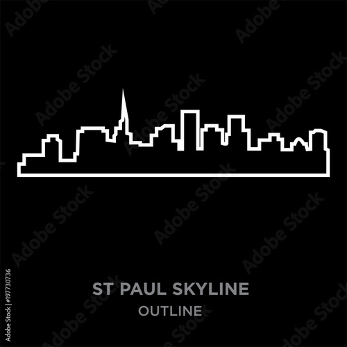 Photo  white border st paul skyline outline on black background, vector illustration