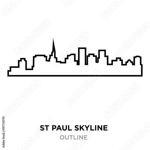 Photo  st paul skyline outline on white background, vector illustration