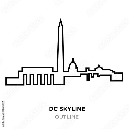 dc skyline outline on white background, vector illustration Fotomurales