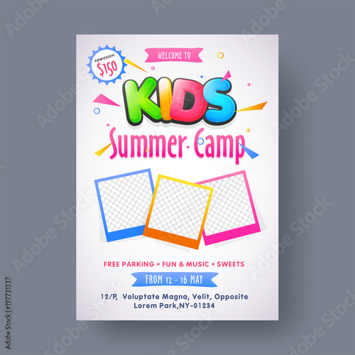 summer camp poster flyer or banner design buy this stock vector
