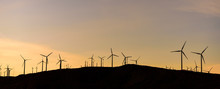 Wide Panorama Of Windmills Sil...