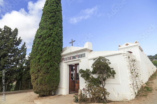 Photo  White cemetery and cypress in Tiana, province Barcelona, Catalonia