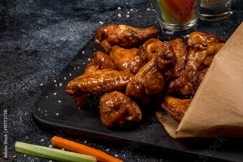 Chicken wings with blue cheese sauce