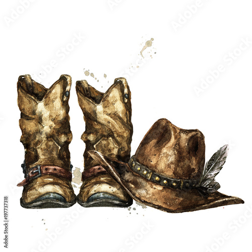 Poster Watercolor Illustrations Cowboy Boots and Hat. Watercolor Illustration.