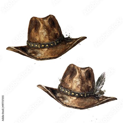 Recess Fitting Watercolor Illustrations Cowboy Hat. Watercolor Illustration.