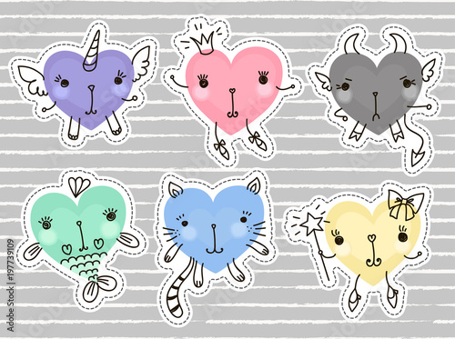Fashion cute set: patches, badges, pins and stickers  Set of