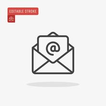 Outline Email Icon Isolated On Grey Background. Open Envelope Pictogram. Line Mail Symbol For Website Design, Mobile Application, Ui. Editable Stroke. Vector Illustration. Eps10
