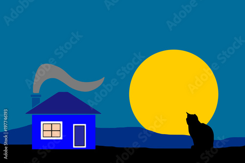 Tuinposter Hemel night country house with black silhouette cat vector - dark blue sky background
