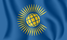Flag Of The Commonwealth Of Nations. Realistic Waving Flag Of Commonwealth Of Nations. 3d Shaded Blue Flag Texture.