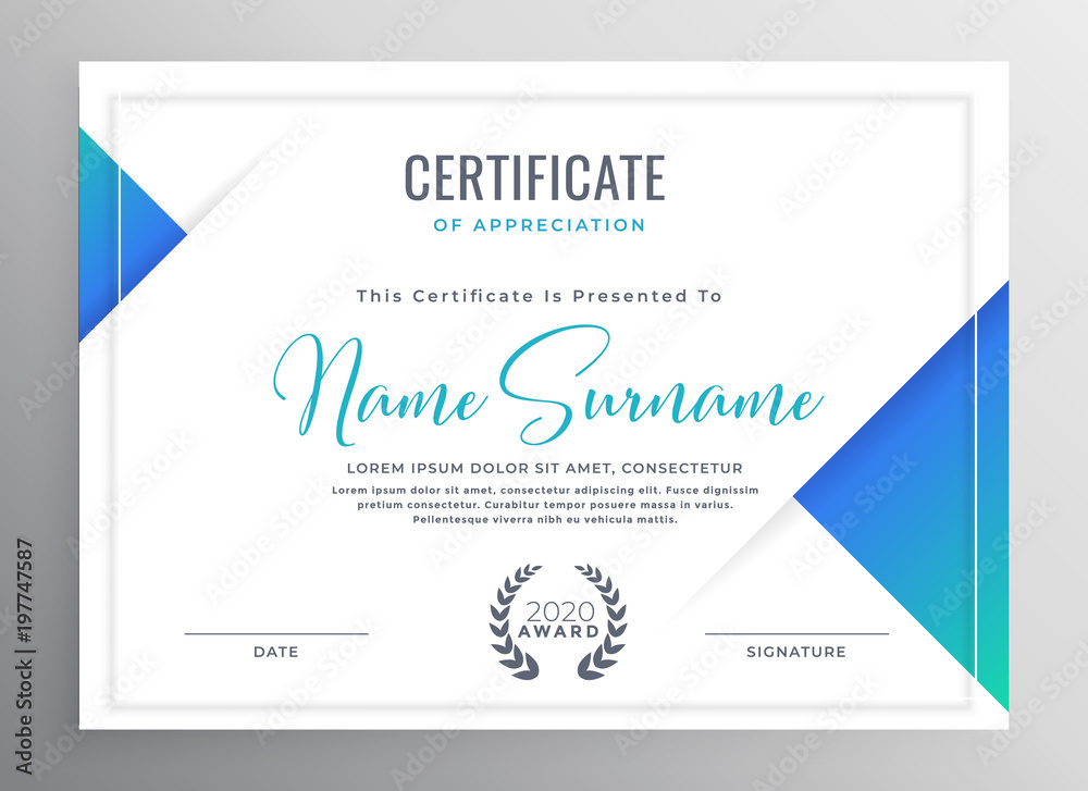 Fototapety, obrazy: minimal blue triangle certificate template design