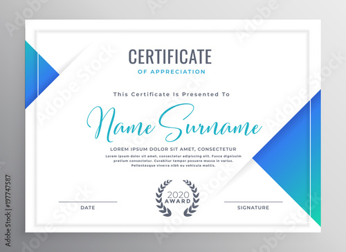 Fotomural minimal blue triangle certificate template design
