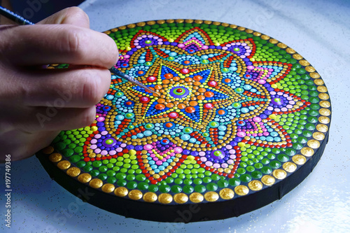 Fotografie, Tablou  beautiful mandala painted with a brush