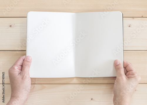 Blank open pocket book mock up, catalog magazines, or note template with paper t Poster