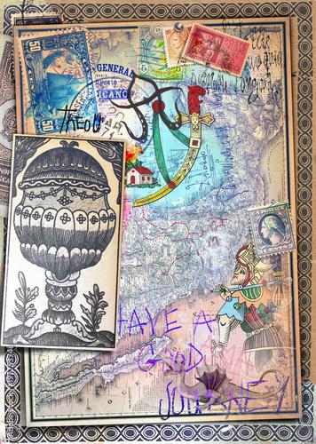 Papiers peints Imagination Vecchie e misteriose carte con mappe,disegni e carte da gioco dei tarocchi