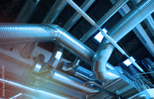 Ventilation pipes and ducts of industrial air condition Fototapet