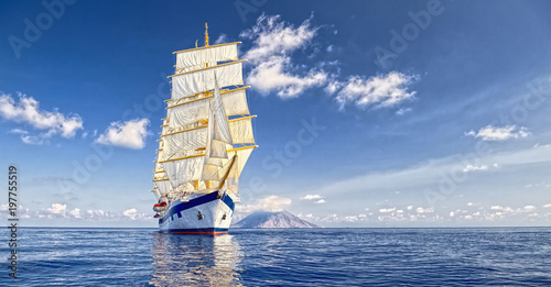 Poster de jardin Voile Sailing ship. Cruises. Traveling. Yachting. Sailing