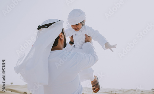 Fényképezés  father and son spending time in the desert
