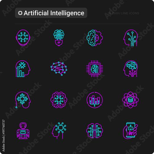 Fotografia, Obraz  Artificial intelligence thin line icons set: robot, brain, machine learning, marketing analytics, cpu, chip, voice assistant