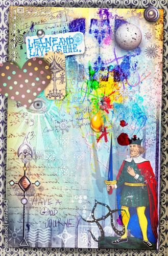 Imagination Murales con graffiti,simboli,disegni ritagli,patchworks e collages esoterici