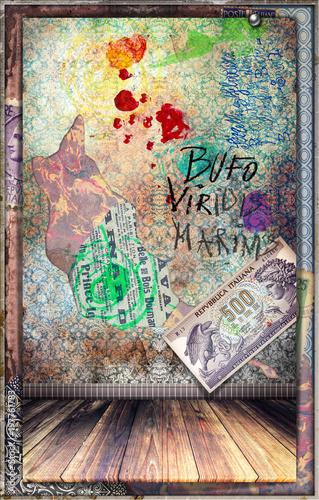 Papiers peints Imagination Murale con graffiti,simboli,disegni ritagli e patchwork