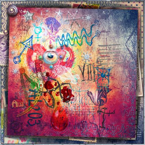 Imagination Murales con graffiti,simboli,disegni esoterici e cuore