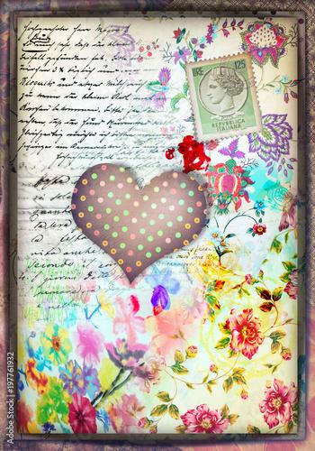 Papiers peints Imagination Murale con cuore a pois,graffiti,simboli,disegni ritagli,patchwork e collage