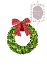 Christmas Wreath With Red Bow. Boxwood Topiary, Garden Plant, Vector Background. English Boxwood.