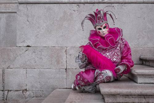 Woman dressed up as jester in pink costume at the Venice Carnival (Carnivale di Canvas Print